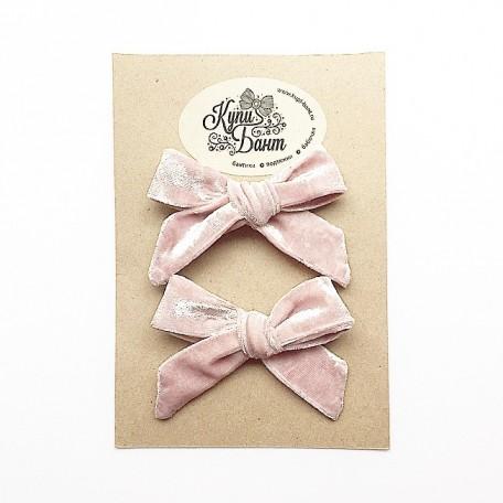 """Бантики для девочки """"Розовый бархат"""""""