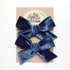 """Бархатные бантики для девочки """"Синие"""""""