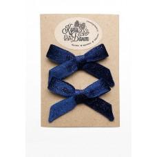 """Бархатные бантики для девочки """"Синие с блестками"""""""